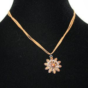 Beautiful brown leather flower necklace adjustable